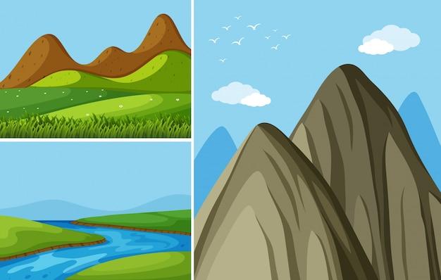 Tre scene di montagna con fiume e campo Vettore Premium
