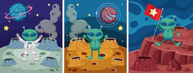 Tre scene spaziali con alieni sullo strano pianeta Vettore Premium
