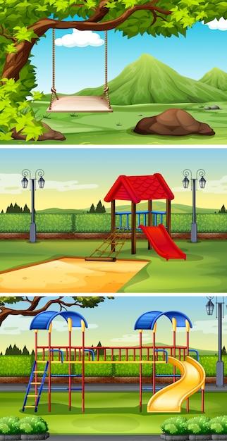 Tre sfondi di scena di parco e parco giochi Vettore gratuito