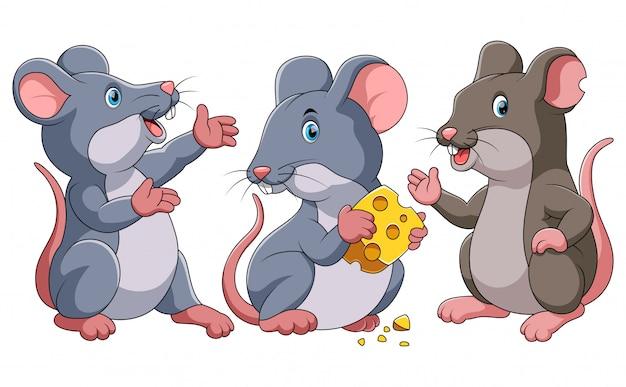 Tre simpatici cartoni animati di topo Vettore Premium