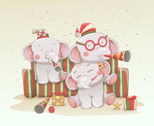 Tre simpatici elefantini festeggiano insieme natale e capodanno Vettore Premium