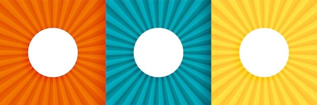 Tre sun burst background impostato con lo spazio del testo Vettore gratuito