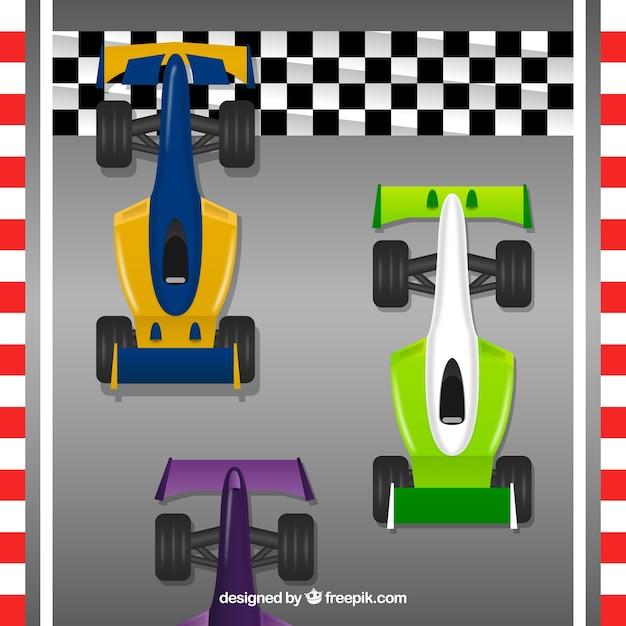 Tre traguardi per il traguardo di una vettura da corsa 1 Vettore gratuito