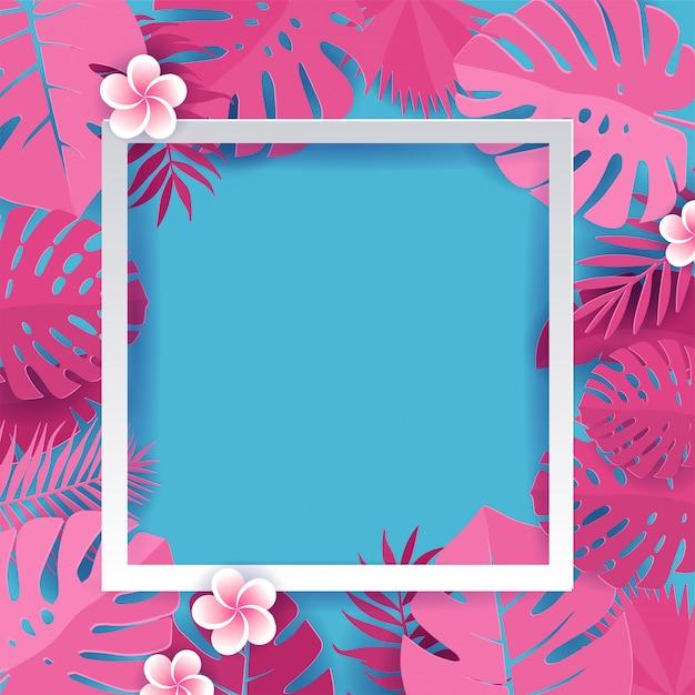 Trendy summer tropical palm pink foglie con cornice quadrata bianca Vettore Premium
