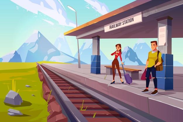 Treno aspettante della gente sul binario della ferrovia, ferrovia Vettore gratuito