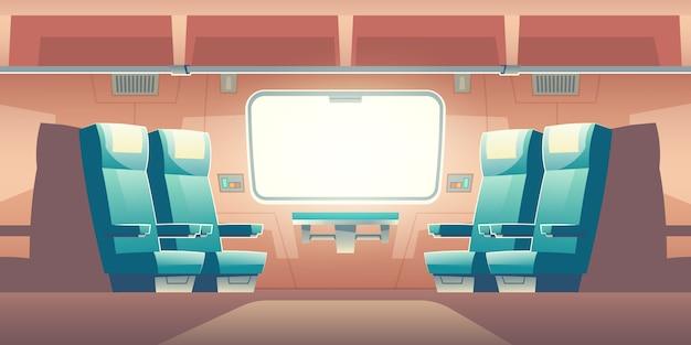 Treno dentro l'illustrazione vuota interna del pendolare ferroviario Vettore gratuito