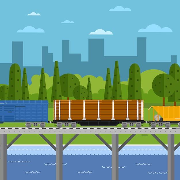 Treno merci misto nel paesaggio urbano Vettore Premium