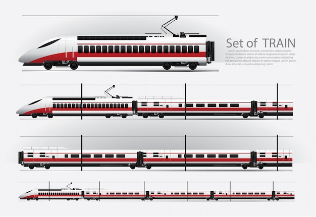 Treno merci su una ferrovia illustrazione vettoriale Vettore Premium