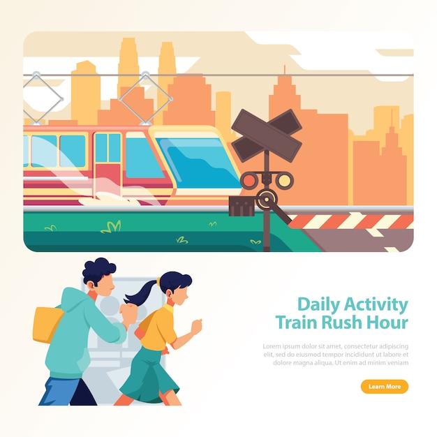 Treno nell'ora di punta la gente che corre sulla stazione ferroviaria Vettore Premium