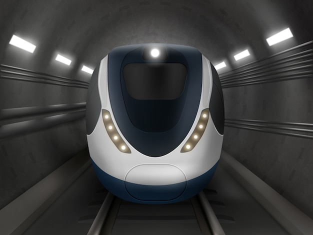 Treno o metro, vista frontale, locomotiva della metropolitana Vettore gratuito