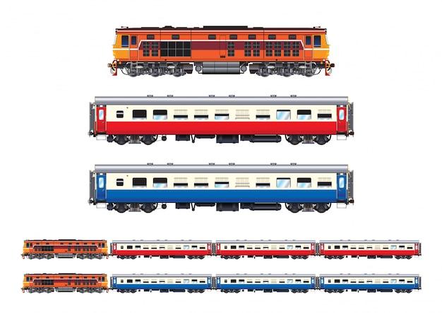 Treno set passeggero Vettore Premium