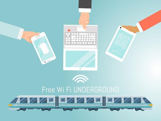 Treno sotterraneo wifi gratuito, illustrazione della metropolitana veloce gratuita. gadget e computer portatile mobili della tenuta della mano di concetto. Vettore Premium