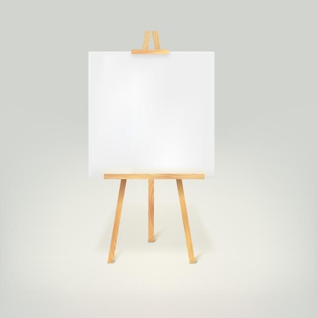 Treppiede in legno con un foglio di carta bianco Vettore Premium