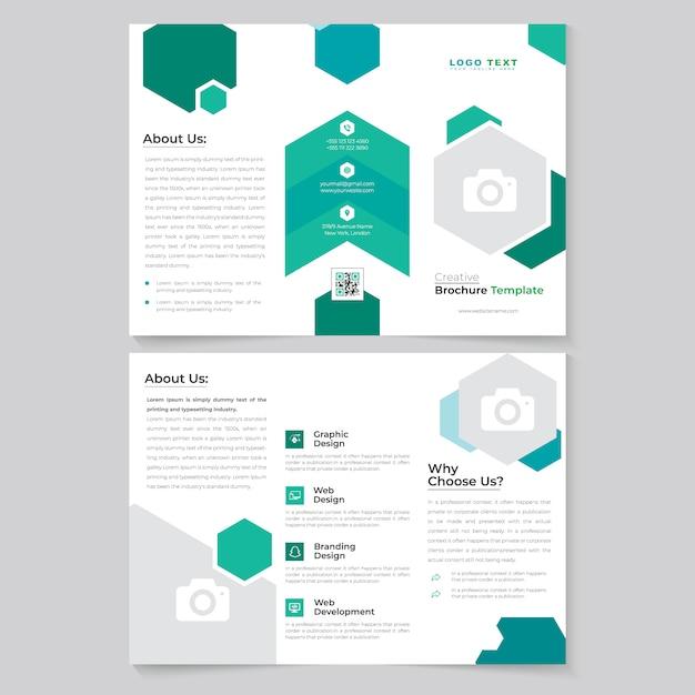 Tri brochure design pieghevole per affari aziendali bifacciale Vettore Premium
