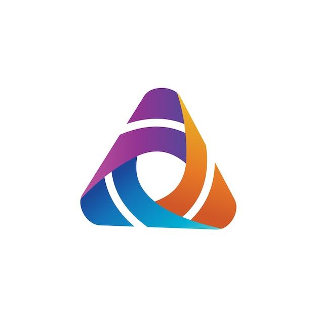 Triangolo colorato logo design template Vettore Premium