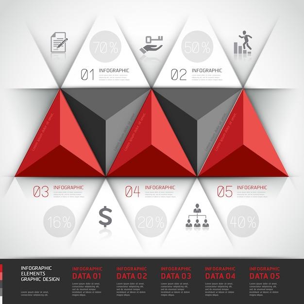 Triangolo moderno di affari di infographics 3d. Vettore Premium