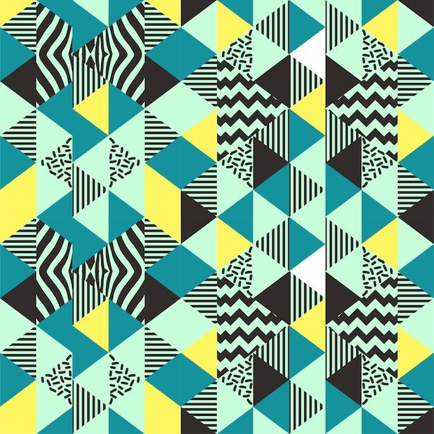 Triangolo seamless con memphis art anni '90 alla moda Vettore Premium