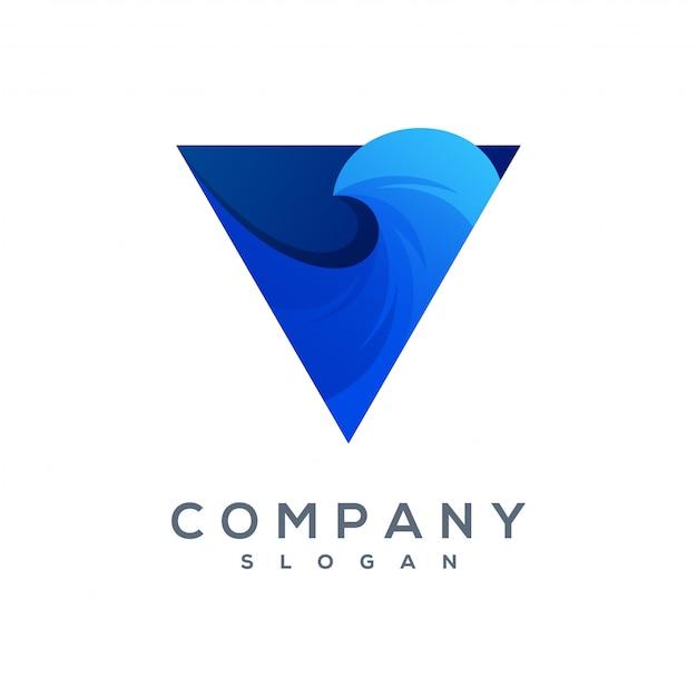 Triangolo wave logo vettoriale pronto per l'uso Vettore Premium