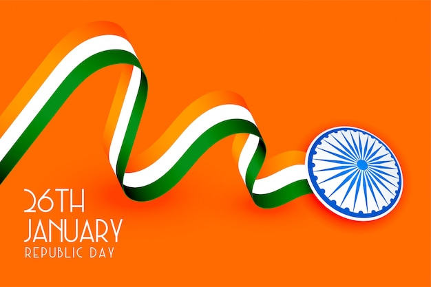 Tricolore bandiera indiana design per la festa della repubblica Vettore gratuito