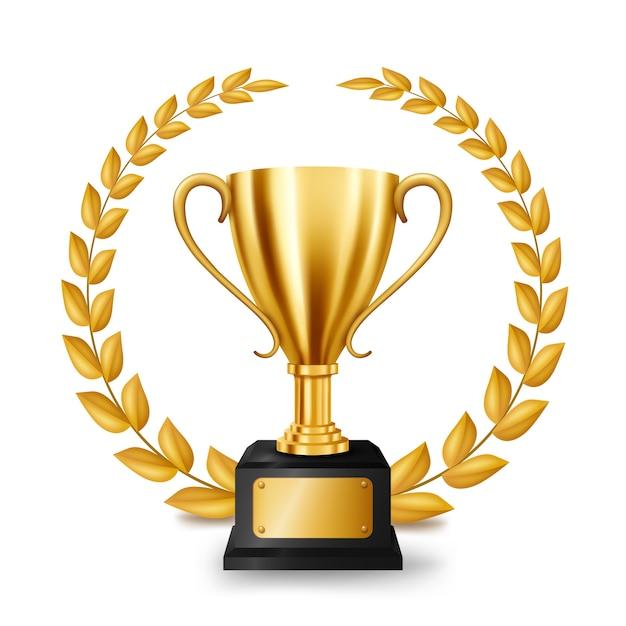 Trofeo d'oro realistico con corona d'oro laurel Vettore Premium