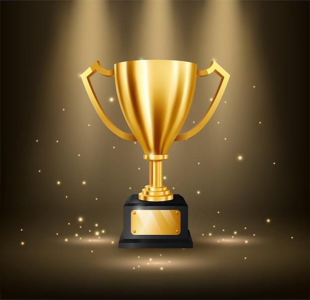 Trofeo dorato realistico con lo spazio del testo Vettore Premium