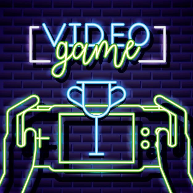 Trofeo e mani che giocano al videogioco, in stile neon Vettore gratuito