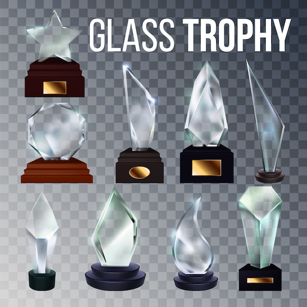 Trofeo in vetro di diverse forme Vettore Premium