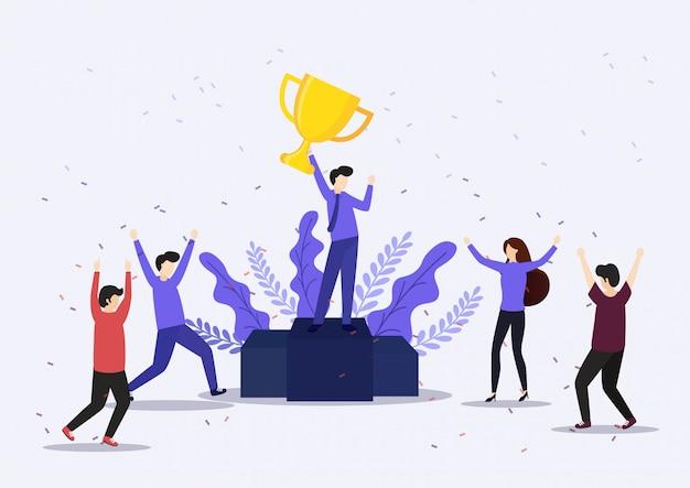 Trofeo vincente di imprenditore holding. concetto di vittoria. Vettore Premium