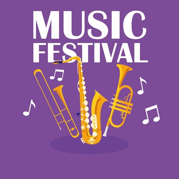 Trombe e strumenti musicali per sassofono Vettore Premium