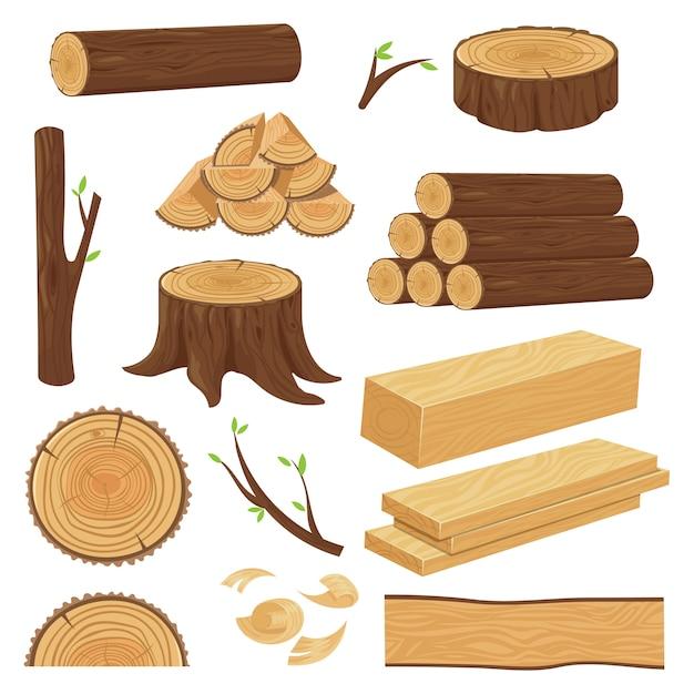 Tronchi di legno. materiale in legno impilato, ramoscello di tronco e ramoscelli di legna da ardere. ceppo di albero, insieme del fumetto isolato vecchia plancia di legno Vettore Premium