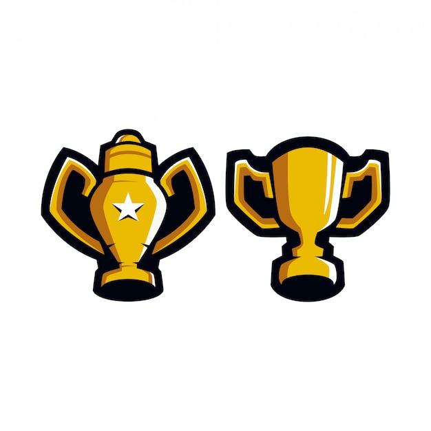 Trophy champions sports logo Vettore Premium