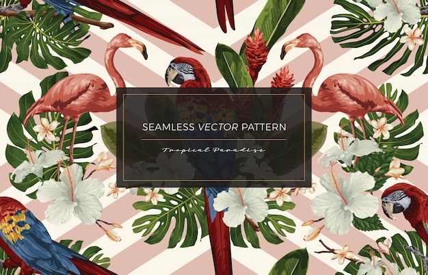 Tropical seamless pattern. Vettore Premium