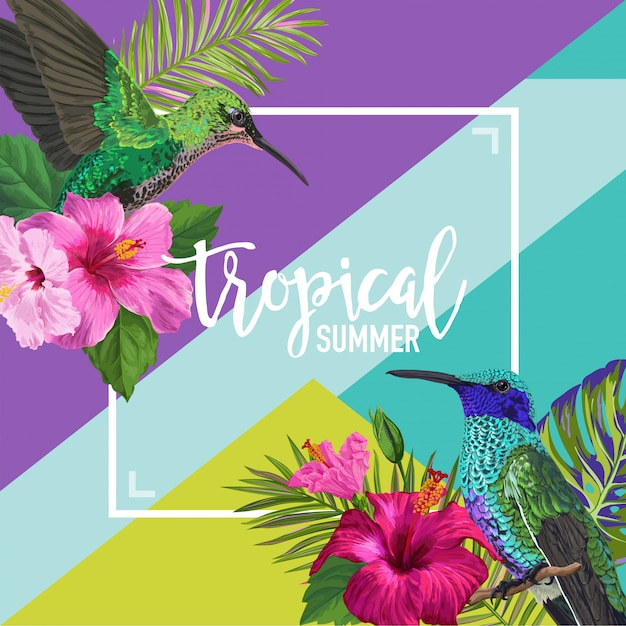 Tropical summer floral poster Vettore Premium