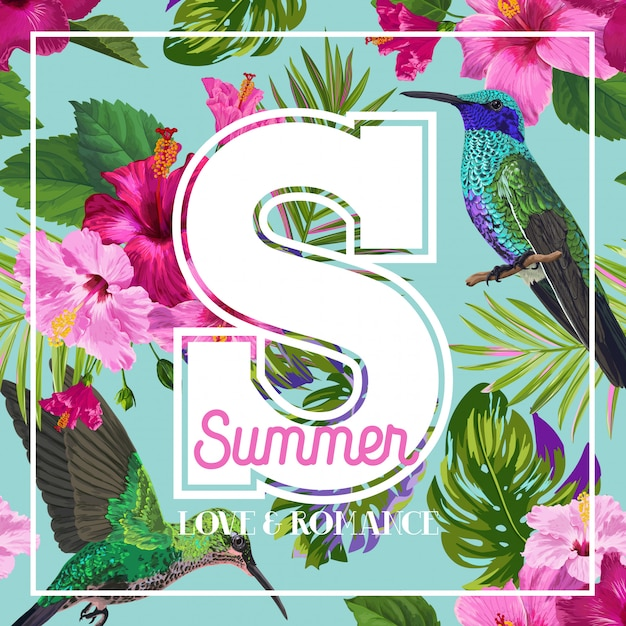 Tropical summer floral poster Vettore Premium