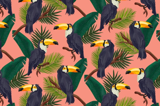 Tropical summer pattern Vettore gratuito