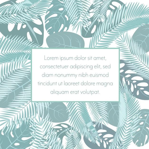 Tropico foglie esotiche sfondo Vettore Premium