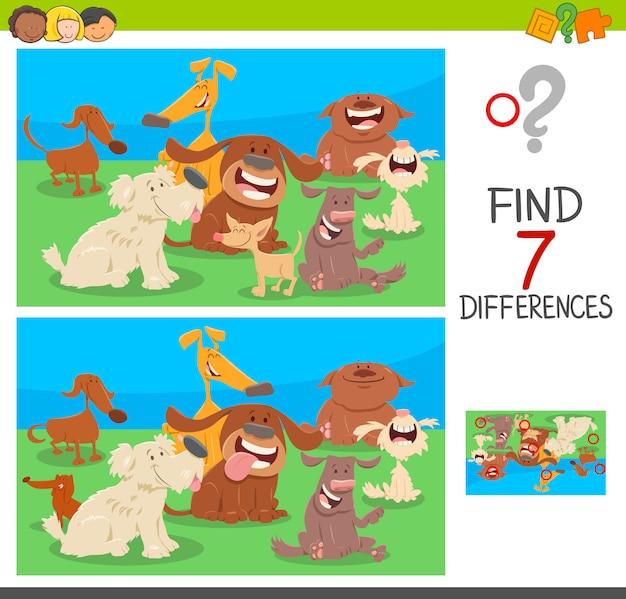 Trova le differenze di gioco con i personaggi dei cani Vettore Premium