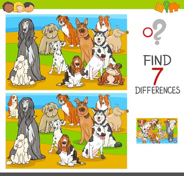 Trova le differenze di gioco con personaggi di animali di cane Vettore Premium