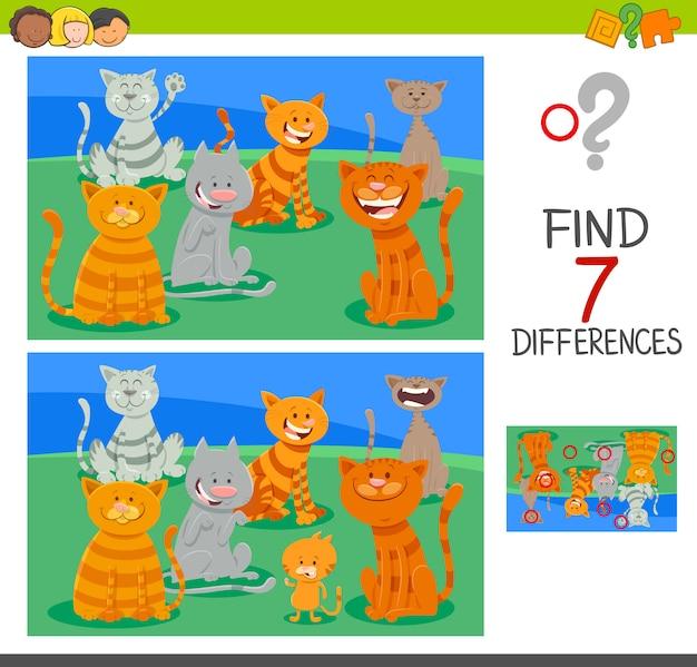 Trova le differenze di gioco di attività con i gatti Vettore Premium