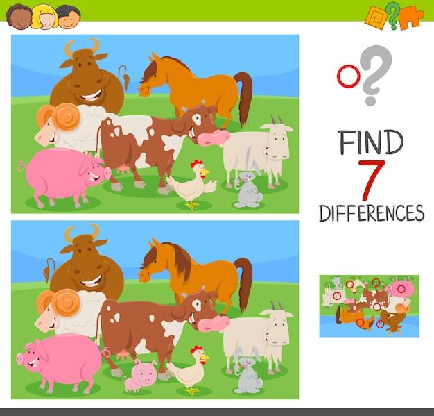 Trova le differenze gioco con gli animali della fattoria Vettore Premium