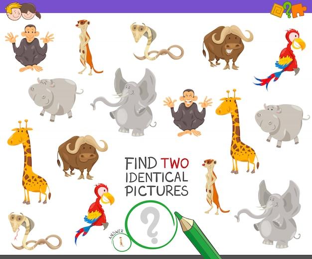 Trovare due immagini identiche gioco per bambini Vettore Premium