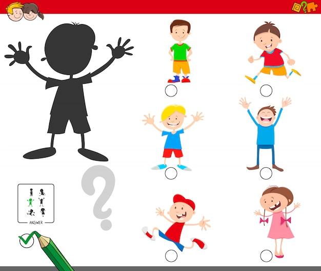 Trovare il gioco educativo delle ombre per i bambini Vettore Premium