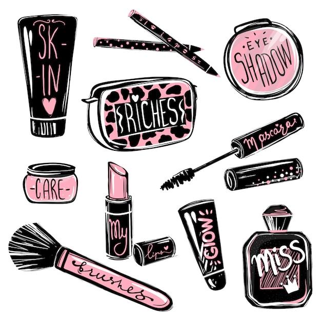 Trucco cosmetici elementi di bellezza. bella illustrazione di moda Vettore Premium