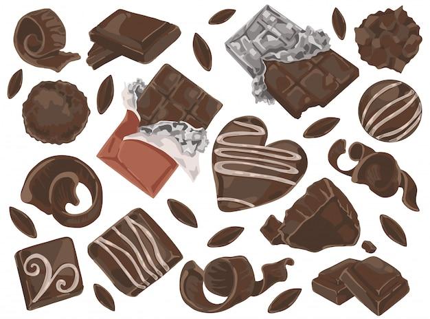 Trucioli e pezzi di cioccolato. Vettore Premium