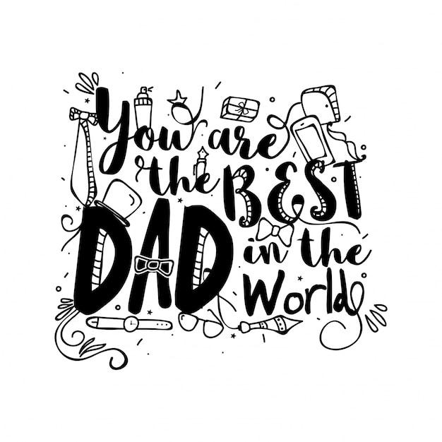 Tu sei il miglior papà del mondo, doodle illustrazioni Vettore gratuito