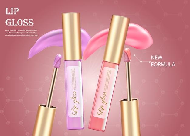 Tubi di trucco di disegno di rossetto rosa e viola Vettore Premium