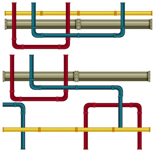 Tubo sotterraneo su sfondo bianco Vettore gratuito