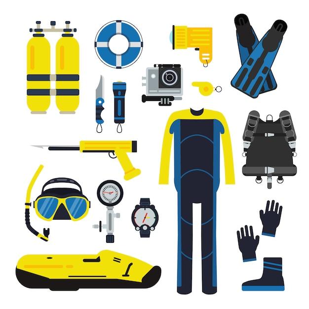 Tuffatore e set elementi per lo sport subacqueo. illustrazioni di immersioni in stile piatto Vettore Premium