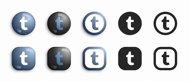 Tumblr 3d moderno e set di icone piatte Vettore Premium