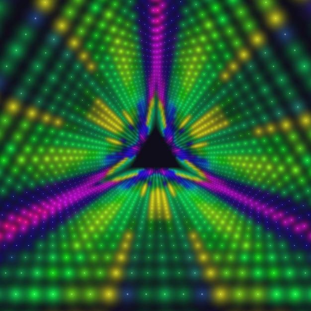Tunnel triangolare infinito di cerchi colorati Vettore gratuito